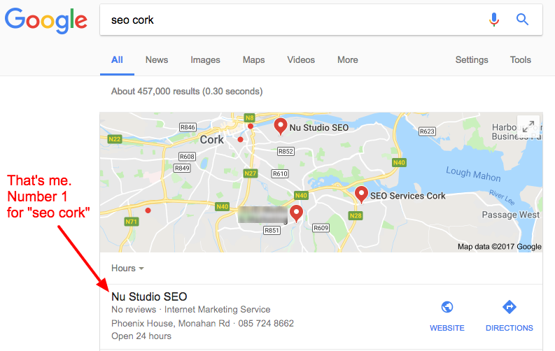 number one in Google for seo cork
